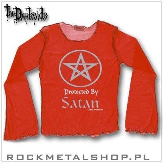 bluzka damska PROTECTED BY SATAN, czerwona (mesh, dł.rękaw) firma DARKSIDE