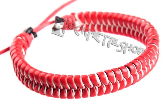 bransoletka czerwono-biała