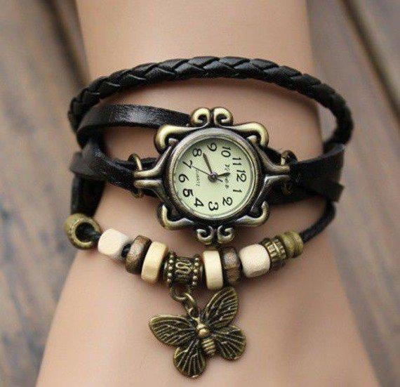 bransoletka/zegarek RETRO MOTYL BLACK