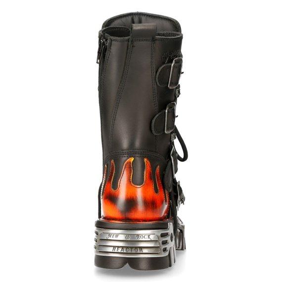 buty NEW ROCK 107 Itali Negro y Pulik Fuego, Reactor Negro Toberas  czerwone płomienie [M.107-S1]