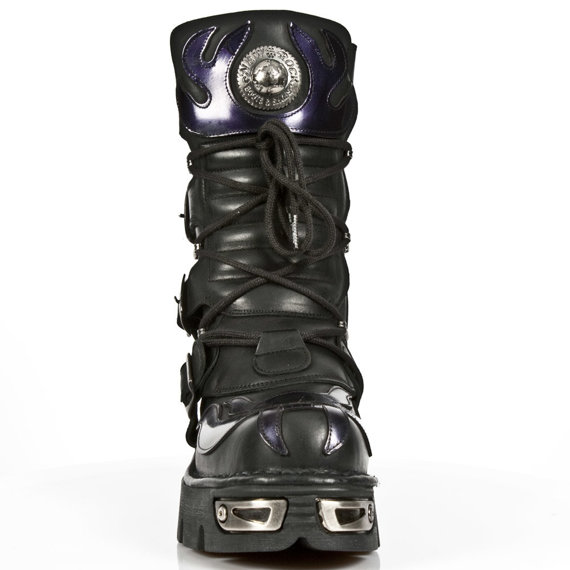 buty NEW ROCK 107-S4 Itali negro y charol stuco lila, new reactor negro C y O