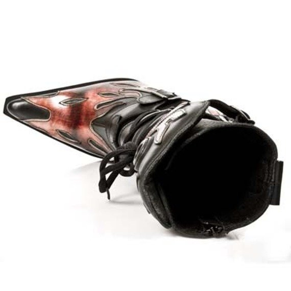 buty damskie NEW ROCK Itali Negro y Lux Fuego, Malicia Tacon Acero [M.9591 - S1]