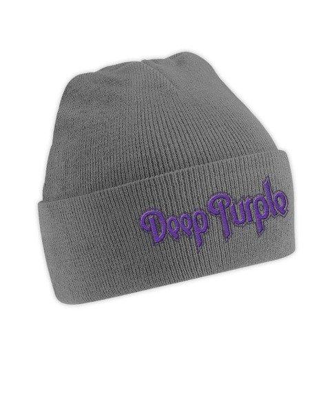 czapka DEEP PURPLE  - LOGO grey, zimowa