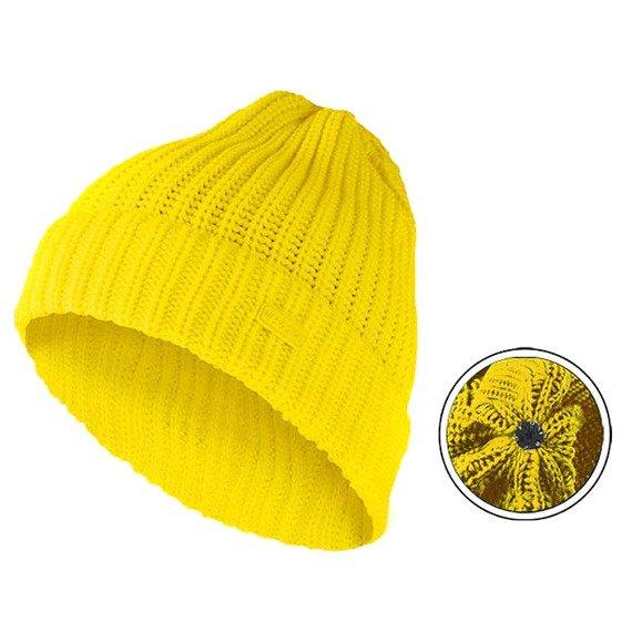 czapka zimowa MASTERDIS - KMA BEANIE BASIC FLIP neon yellow