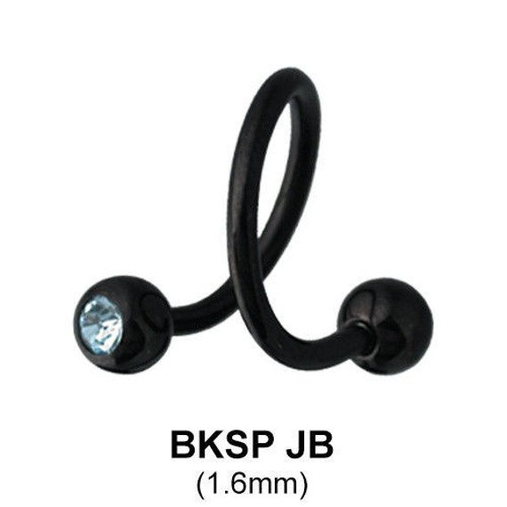 kolczyk do brwi/wargi  BODY SPIRAL BLACK LINE RÓŻOWE OCZKA 1,6/5mm