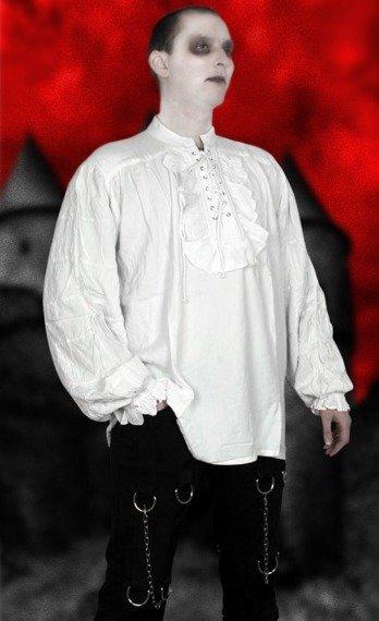 koszula GOTYCKA biała z żabotem (56657)