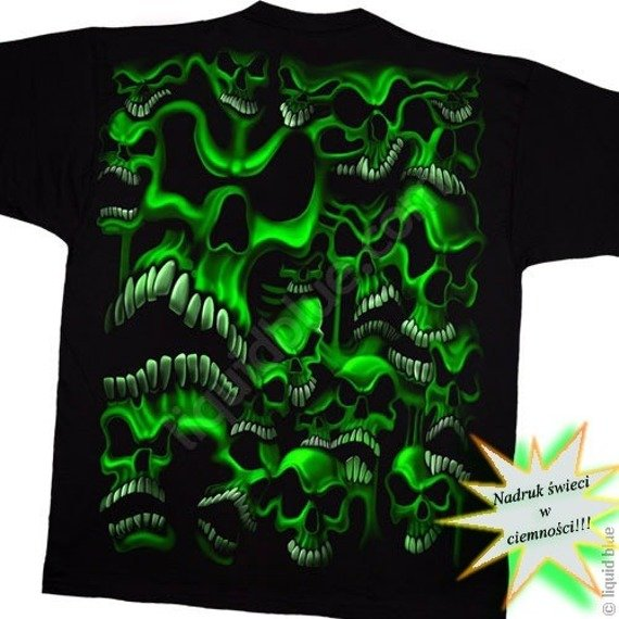 koszulka SKULLS - GREEN MEANY fluorescencyjna