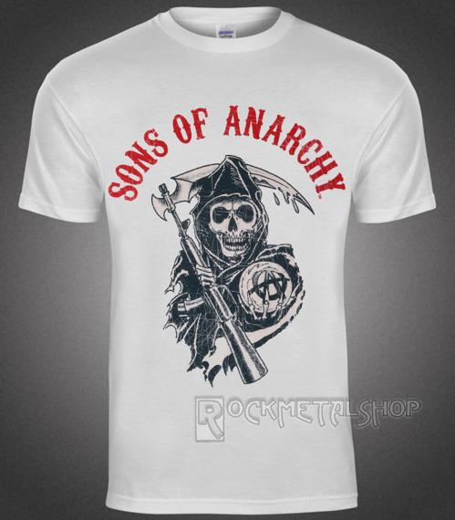 koszulka SONS OF ANARCHY - REAPER FLAG white
