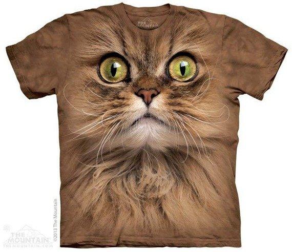 koszulka THE MOUNTAIN - BIG FACE BROWN CAT, barwiona