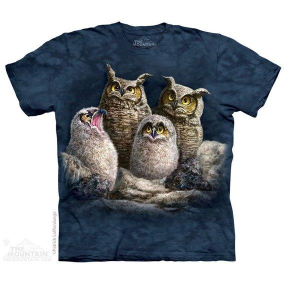 koszulka THE MOUNTAIN - OWL FAMILY, barwiona