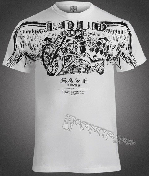koszulka WEST COAST CHOPPERS - LOUD PIPES biała