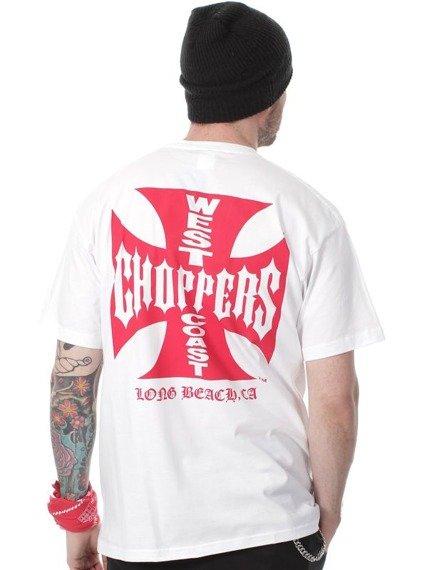koszulka WEST COAST CHOPPERS - RED IRON CROSS biała