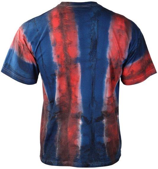koszulka barwiona PEOPLE AGAINST RACISM niebiesko-czerwona