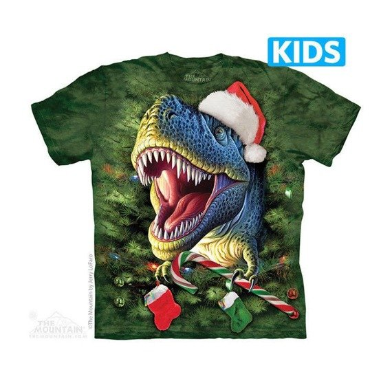 koszulka dziecięca THE MOUNTAIN - XMAS TIREX, barwiona