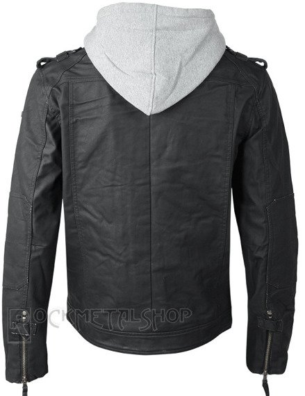 kurtka BLACK ROCK HOODED LEATHER - GRAU