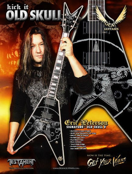miniaturka gitary TESTAMENT - ERIC PETERSON: OLD SKULL V