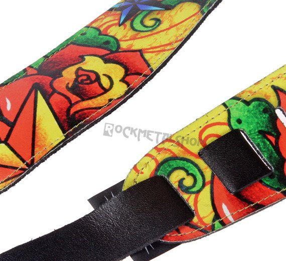 pas do gitary TATTOO JOHNNY - RED ROSES skórzany, 63mm