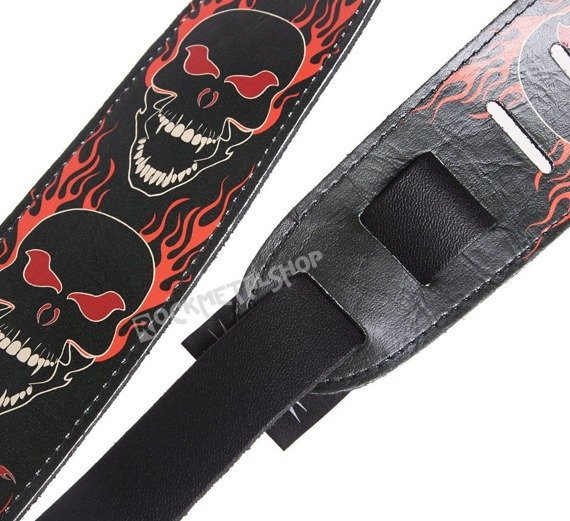 pas do gitary VULTURE KULTURE - BLACK SKULLS skórzany, 63mm