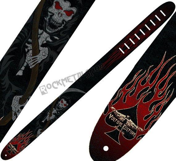 pas do gitary VULTURE KULTURE - SKELETON GRIM REAPER skórzany, 63mm