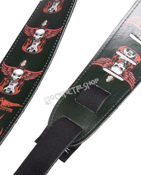 pas do gitary VULTURE KULTURE - WINGED SKULLS skórzany, 63mm