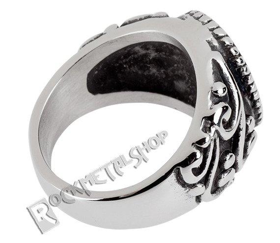 pierścień BLACK ORNAMENT CROSS