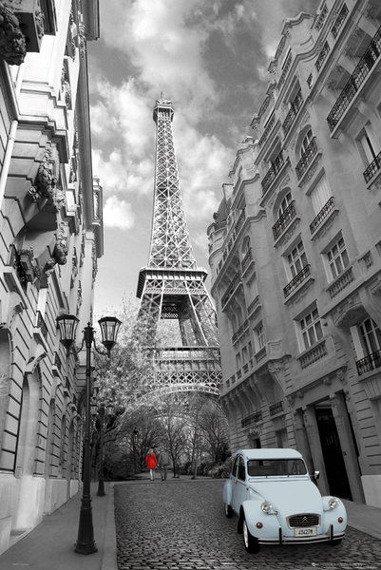 plakat PARIS - RED GIRL BLUE CAR