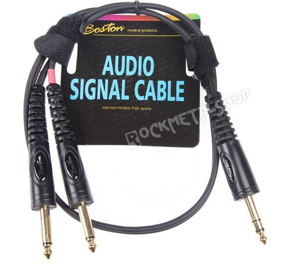 przewód audio BOSTON: 2 x DUŻY JACK MONO (6.3mm) - 1 x JACK STEREO (6,3mm) / 0,30m