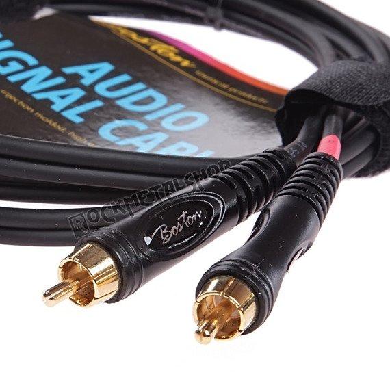 przewód audio BOSTON: 2 x RCA (cinch) -  DUŻY JACK STEREO (6.3mm) / 0,75m