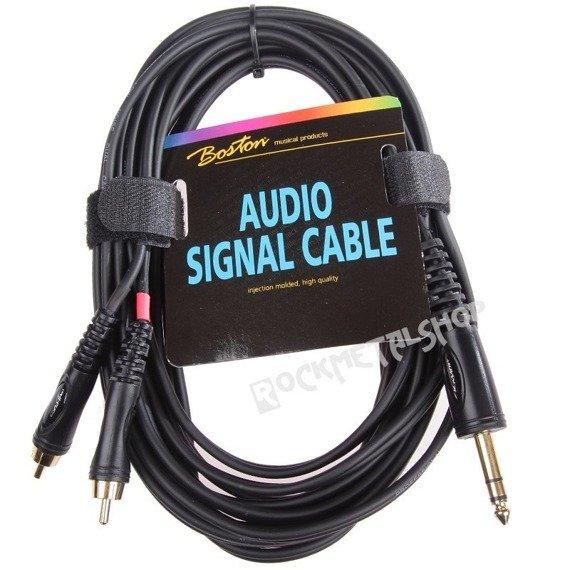przewód audio BOSTON: 2 x RCA (cinch) -  DUŻY JACK STEREO (6.3mm) / 9m
