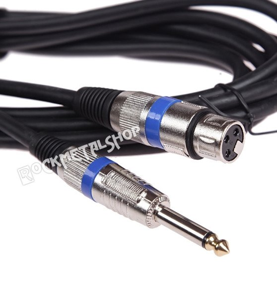 przewód mikrofonowy BOSTON: XLR żeński -  DUŻY JACK mono (6.3mm) / 5m