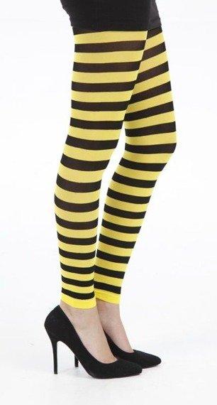 rajstopy w paski żółte Flo Footless