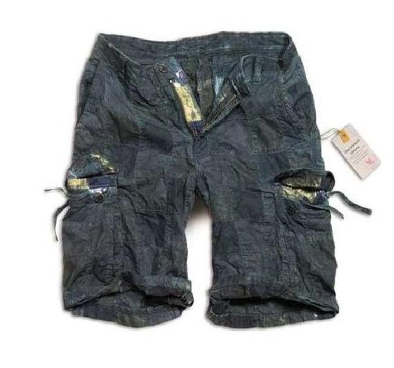 spodnie bojówki krótkie CHECKBOARD SHORTS - navy