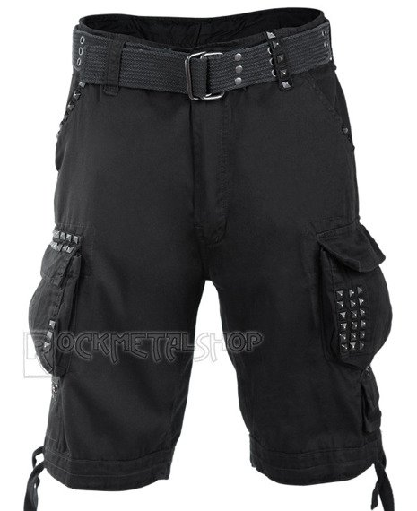 spodnie bojówki krótkie SAVAGE STUDS SHORTS - BLACK
