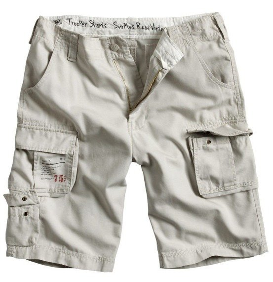 spodnie bojówki krótkie TROOPER SHORTS off-white