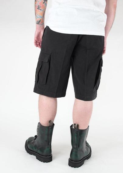 spodnie bojówki krótkie US BERMUDA RIP-STOP COTTON PREWASH SCHWARZ