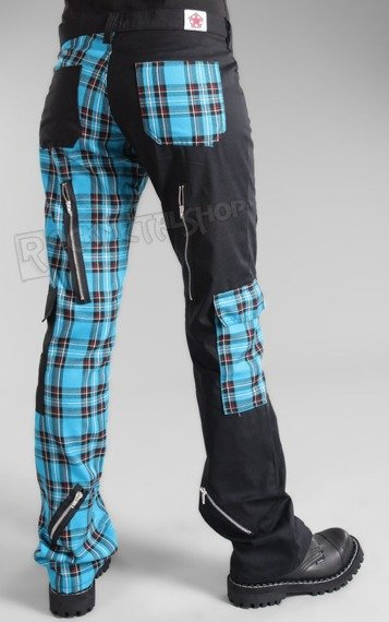 spodnie damskie FREAK PANTS TARTAN BLACK/LIGHT BLUE