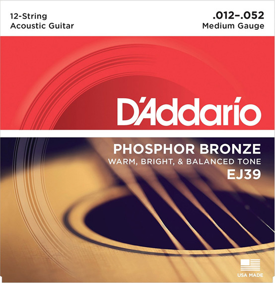 struny do gitary akustycznej 12str. D'ADDARIO - PHOSPHOR BRONZE / MEDIUM (EJ39) /012-052/