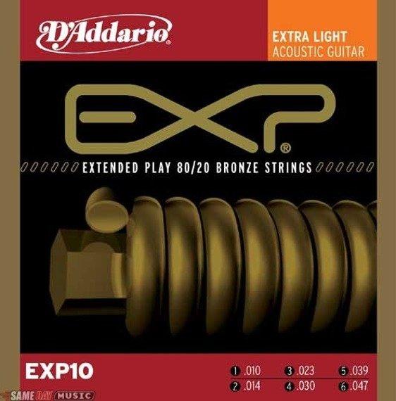 struny do gitary akustycznej D'ADDARIO COATED 80/20 BRONZE EXP10 /010-047/