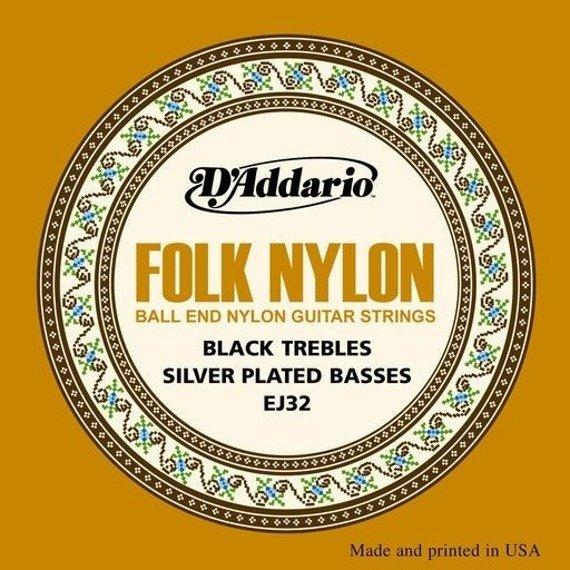 struny do gitary klasycznej D'ADDARIO - FOLK BLACK NYLON EJ32