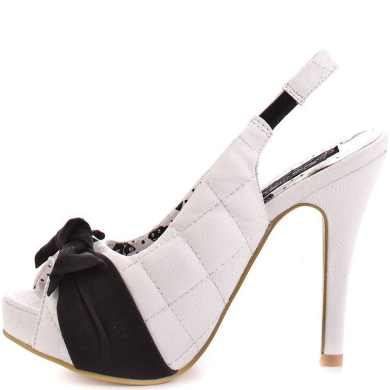 szpilki IRON FIST - BOWED OVER PLATFORM (WHITE/BLACK)